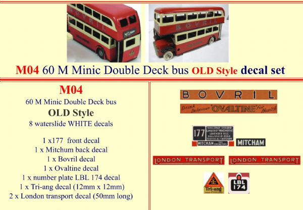 "M04 Tri-ang ( Triang ) Minic 60M All Red Double Decker bus "" OLD STYLE "" decal set"